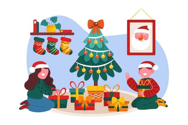 Cena de presentes de natal