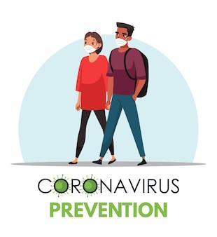 Cena de prevenção de coronavírus, homem e mulher usando máscaras médicas