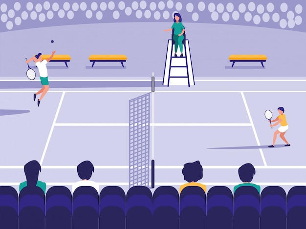 Cena de quadra de esporte de tênis