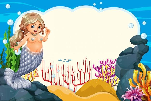 Cena de quadro de sereia subaquática