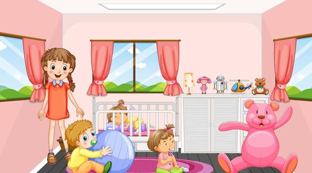 Cena de quarto rosa com uma menina e bebês