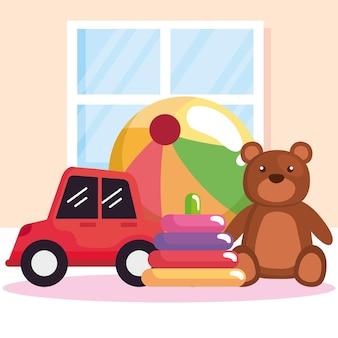 Cena de quatro brinquedos infantis