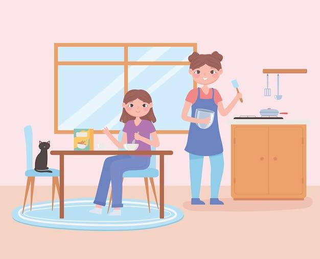 Cena de rotina diária, mulher e filha comendo alimentos saudáveis no café da manhã.