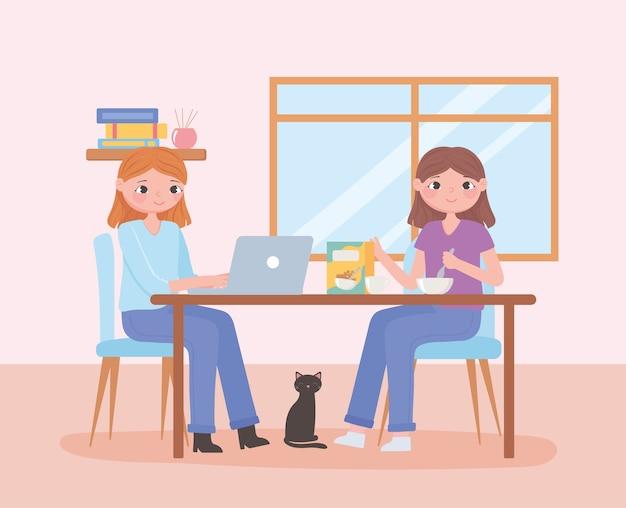 Cena de rotina diária, mulheres com laptop e comendo cereal em ilustração vetorial de mesa