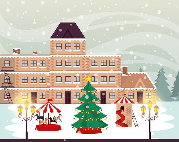 Cena de rua de inverno natal com carrossel
