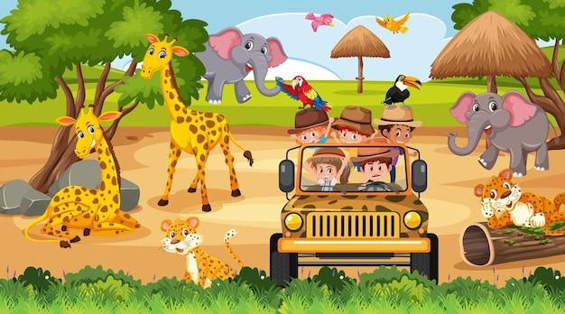 Cena de safári com crianças em carro de turismo observando animais