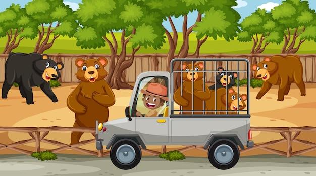Cena de safári com muitos ursos no carro gaiola