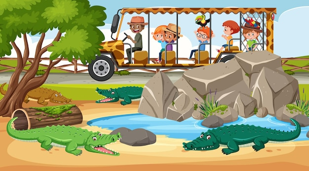 Cena de safári durante o dia com crianças turistas observando grupos de crocodilos
