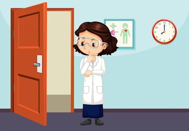 Cena de sala de aula com a garota em bata de laboratório