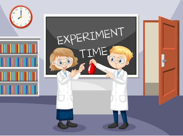 Cena de sala de aula com alunos usando bata de laboratório