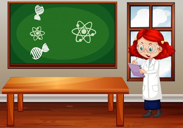 Cena de sala de aula com estudante de ciência dentro