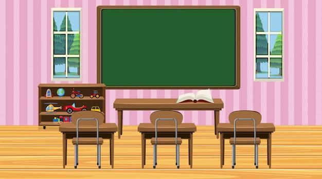 Cena de sala de aula com lousa e mesas