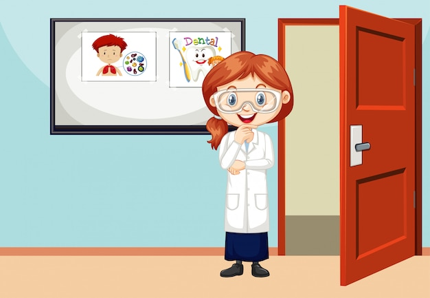 Cena de sala de aula com o estudante de ciência em pé dentro