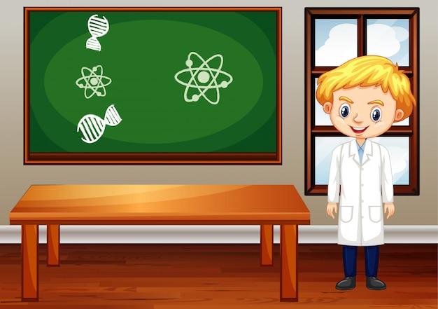 Cena de sala de aula com professor de ciências dentro