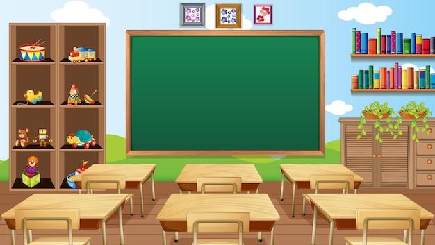 Cena de sala de aula vazia com decoração de interiores e objetos