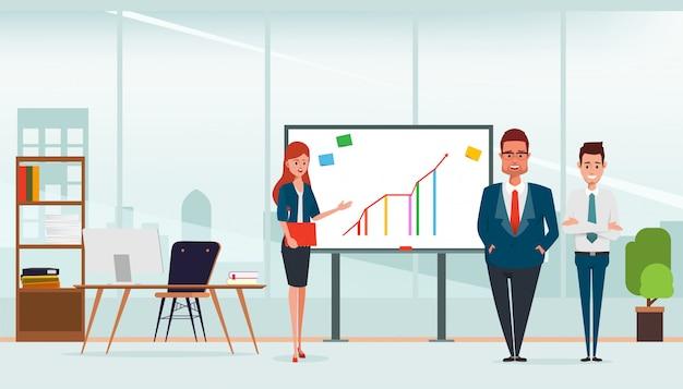 Cena de sala de escritório e negócios apresentando trabalho em equipe.