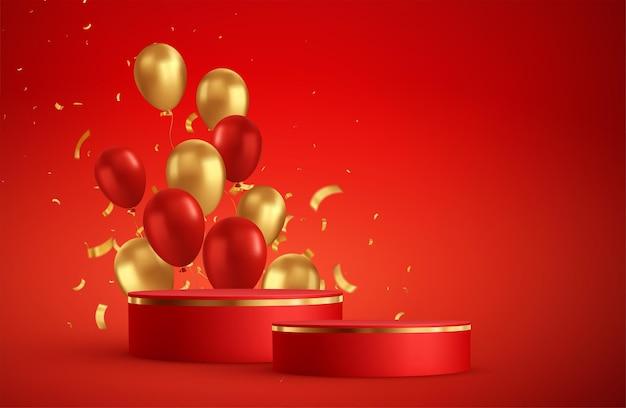 Cena de sala de estúdio fotográfico de pódio vermelho. vitrine com balões vermelhos e dourados e confetes dourados.