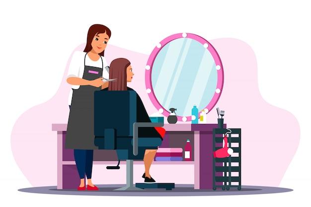 Cena de salão de beleza com cabeleireiro e cliente