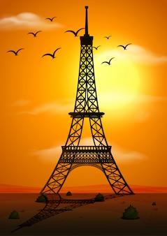 Cena de silhueta com torre eiffel ao pôr do sol
