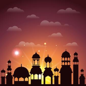 Cena de silhueta de paisagem urbana de ramadan kareem