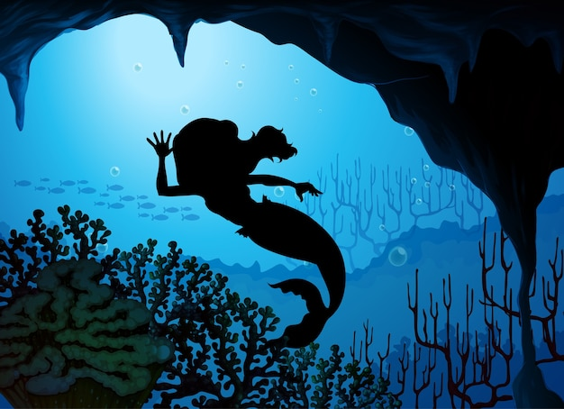 Cena de silhueta subaquática de sereia