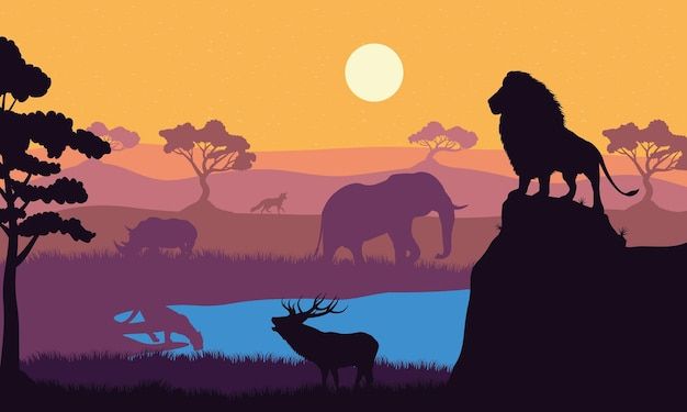 Cena de silhuetas de fauna de animais selvagens
