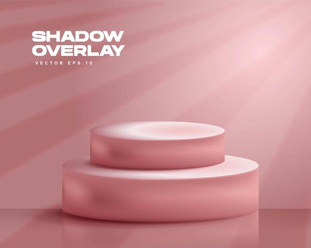 Cena de sobreposição de sombra simples com pódios