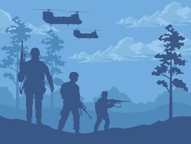 Cena de soldados e helicópteros