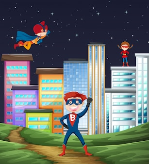 Cena de super herói garoto