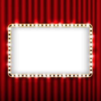 Cena de teatro com cortina vermelha e moldura de ouro
