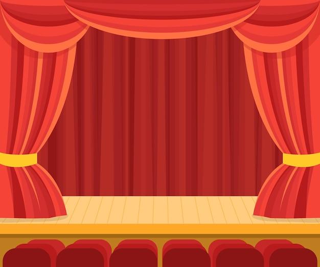 Cena de teatro com uma cortina vermelha para apresentação.