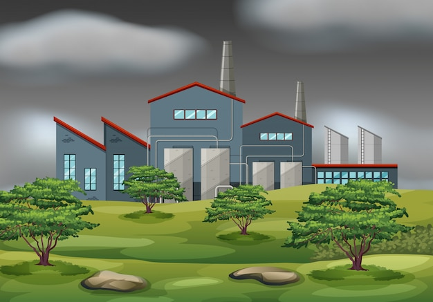 Cena de tempestade de edifício industrial