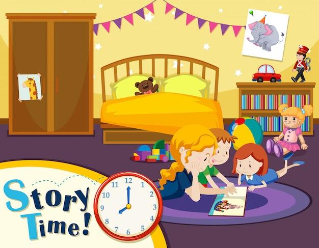Cena de tempo de história de criança
