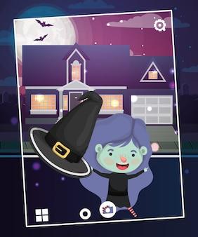 Cena de temporada de halloween com bruxa de fantasia de menina