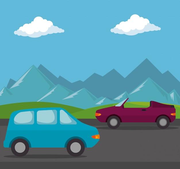 Cena de transporte de veículos automóveis