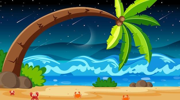 Cena de uma praia tropical à noite com um grande coqueiro