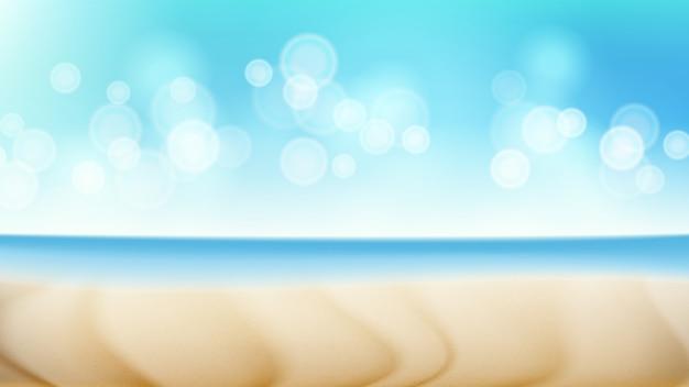 Cena de verão paisagem de praia. borrão mar tropical.
