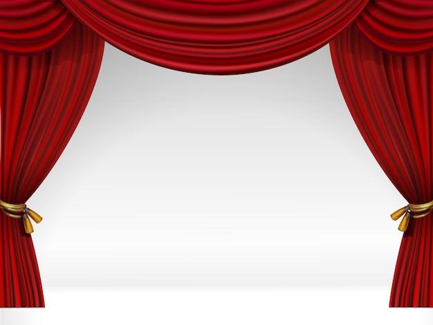 Cena de vetor branco com cortinas vermelhas isoladas