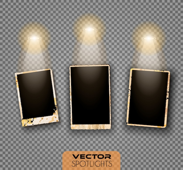 Cena de vetor holofotes com fonte diferente de luzes apontando para o chão ou prateleira.