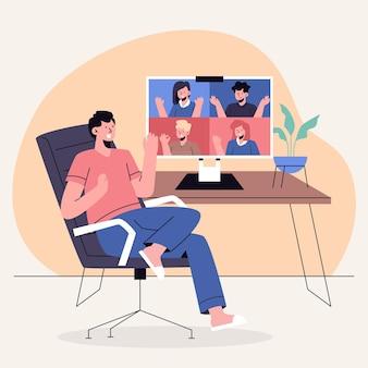 Cena de videoconferência desenhada por amigos