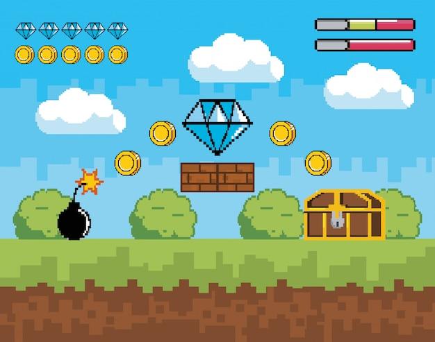 Cena de videogame com barra de vida e diamante com moedas