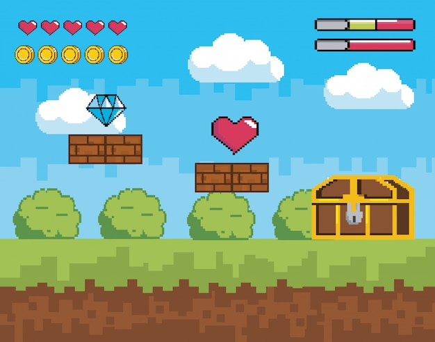 Cena de videogame com barras de coração e moedas de vida