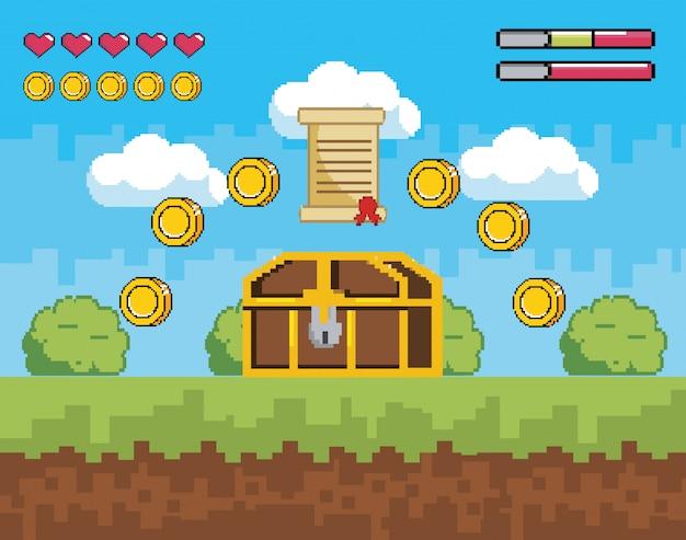 Cena de videogame com cofre e carta com moedas