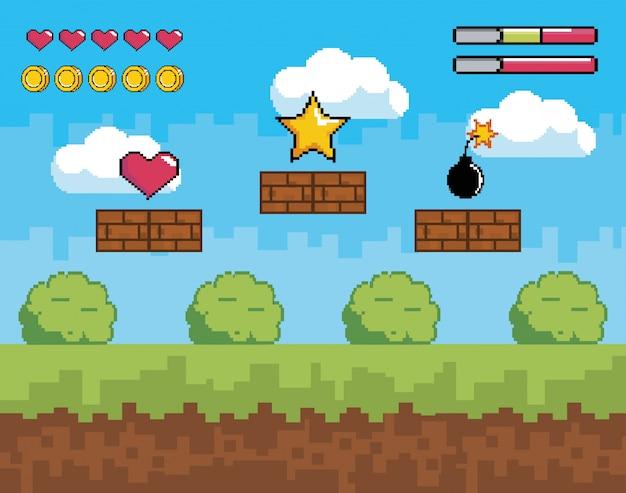 Cena de videogame com vida de coração e barras de moedas