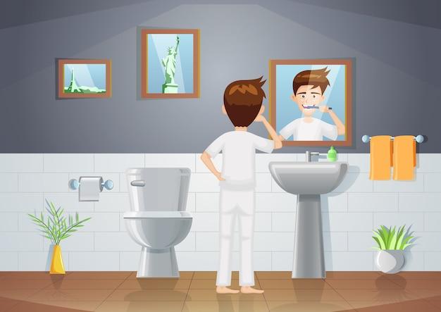 Cena do banheiro com homem escovando os dentes