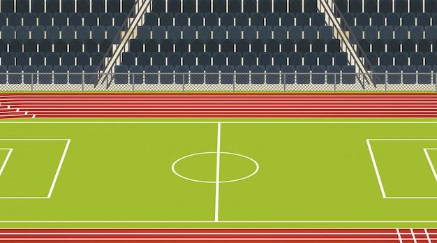 Cena do campo de futebol com estádio