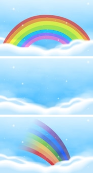 Cena do céu com lindo arco-íris