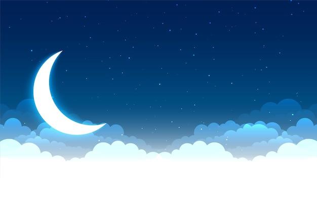 Cena do céu noturno com nuvens, lua e estrelas