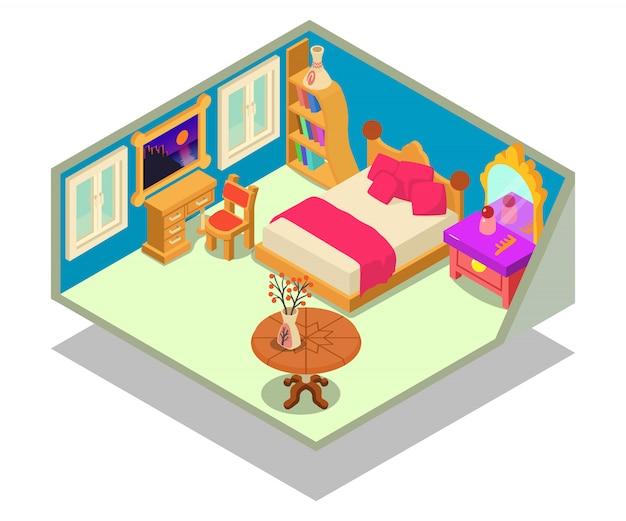 Cena do conceito de câmara de cama