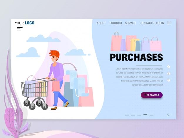 Cena do conceito de compras com o modelo de homepage do personagem para o site ou página de destino.